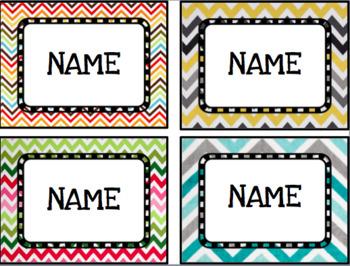 Classroom labels (chevron themed)