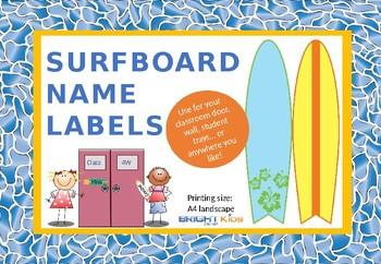 Student name desk / door labels (surfboard themed)