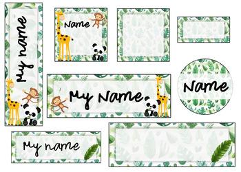 Classroom labels leaf / animal theme