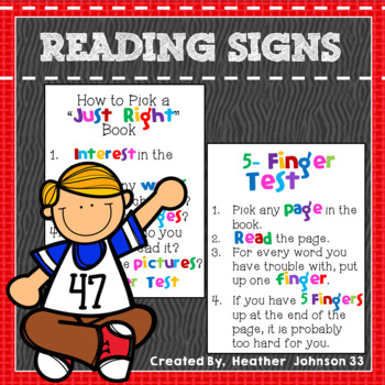 Classroom library Just Right Book: Classroom Mini Posters