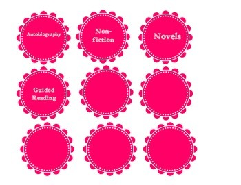 Classroom library labels- pink