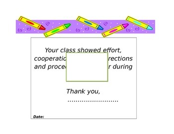 Classroom management: Artsy Class certificate:Word document