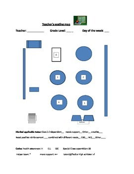 Classroom management: class map editable Word Document
