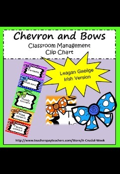 Classroom management clip chart(IN IRISH, AS GAEILGE) - chevron and bows