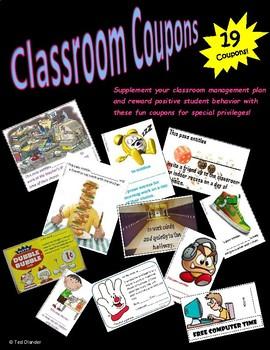 Classroom management coupon pack - student passes - reward positive behavior