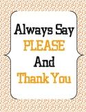 Classroom manners/rules - Orange Polka Dots