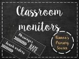 Classroom monitors (black and white, chalkboard, cursive theme)
