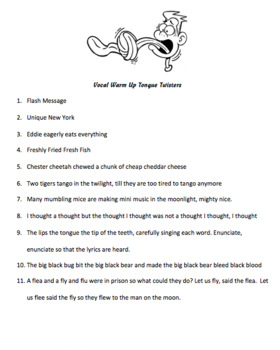 Vocal Choral Warm ups - Tongue Twisters