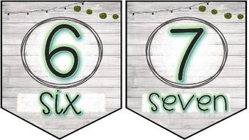 Classroom number line 0-31 Rustic Cactus Theme