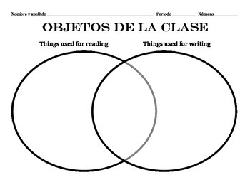 Classroom objects Venn diagram