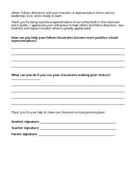 Classroom or Field Trip Behavior Reflection