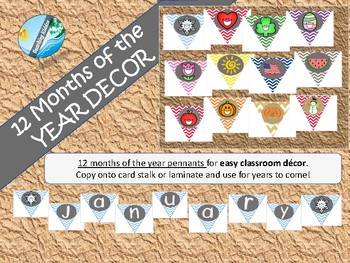 Classroom organization - Months of the year chevron decorations