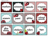 Classroom organization labels (Ladybug theme) black, red and teal