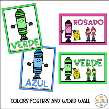 Posters in Spanish Colors,numbers, alphabet, feelings and shapes