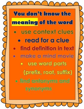 Classroom posters to help students with new words.