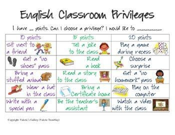 Classroom privileges and rewards