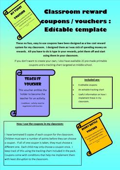 Classroom reward coupons vouchers : Editable template