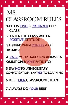 Classroom rules (MS)