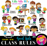 Classroom rules - BLACK AND WHITE & Color Clipart Bundle. {Lilly Silly Billy}
