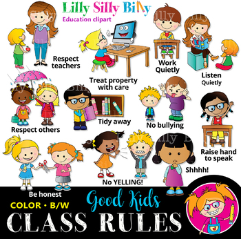 Classroom rules - BLACK AND WHITE & Color Clipart Bundle ...