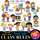 Classroom rules FAB BUNDLE - B/W & Color clipart {Lilly Silly Billy}