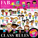 Classroom rules FAB BUNDLE - B/W & Color clipart {Lilly Si