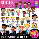 Classroom rules PLUS Sanitize BUNDLE - B/W & Color clipart
