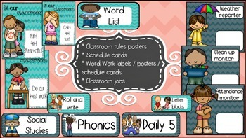 Classroom rules / jobs / schedule cards / word work posters