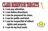Classroom rules poster:  Behavior Targets