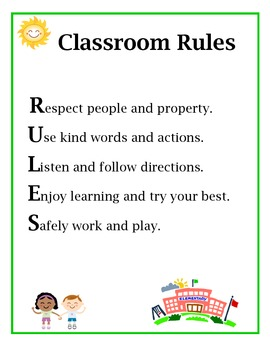 """Classroom rules poster (Spells out the word """"RULES"""")"""