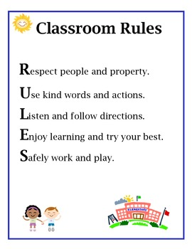 "Classroom rules poster (Spells out the word ""RULES"")"
