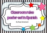 Classroom rules poster set in Spanish
