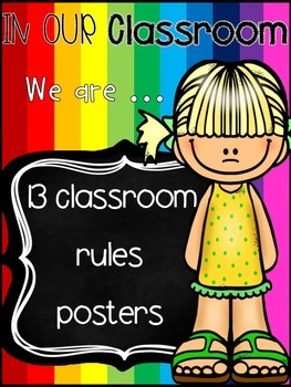 Classroom rules posters (Rainbow Theme)