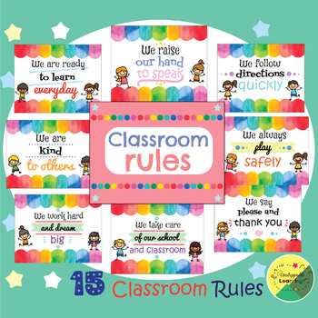 Classroom rules watercolor themed
