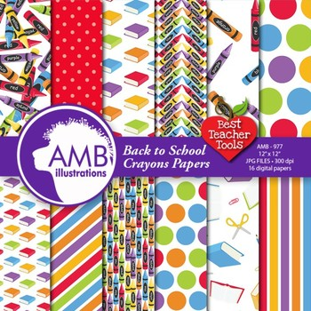 Digital Papers - Classroom theme digital paper, Back to sc