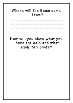 Classroom shop planning booklet for ideas.