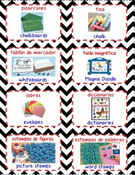 Dual Language Labels for classroom supplies
