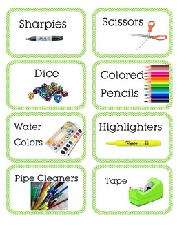 Classroom supply and bin labels