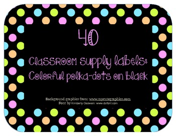 Classroom supply labels: Colorful polka dots on black