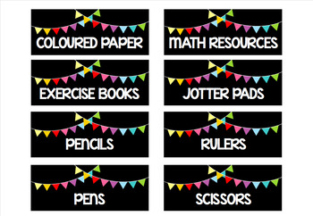 Classroom supply labels: bunting theme - EDITABLE