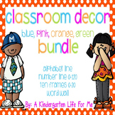 Classroom Decor Bundle-BluePinkOrangeGreenStyle