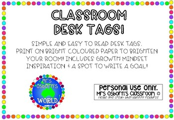Classrooms Desk Tags - Growth mindset & Goals