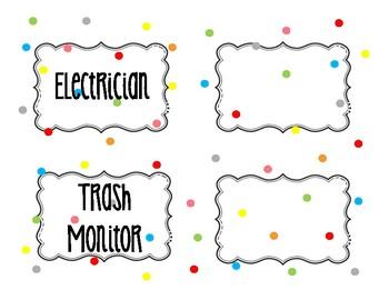 Classrooms Leaders (Jobs)- Colorful Too cute Polka Dots