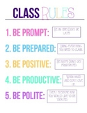 Classrooms Rules Poster