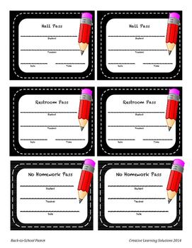 Classroom Passes Set-Blackboard and Pencil Border