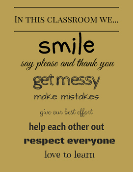 Classrooom Poster: In this classroom we... (black and gold)