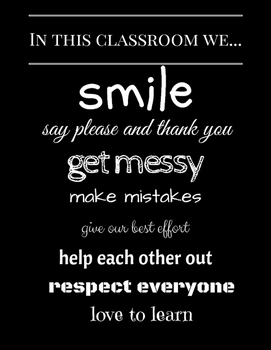 Classrooom Poster: In this classroom we... (black and white)