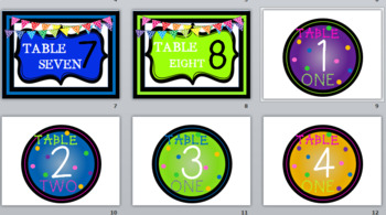 Classsroom COLORS Table Numbers