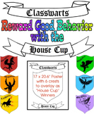 """Classwarts House Cup"" Poster with 6 Crests to Change to Show Winning House"