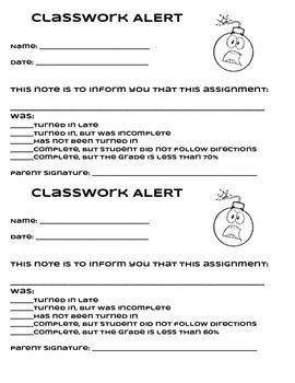 Classwork Alert Note to Parents